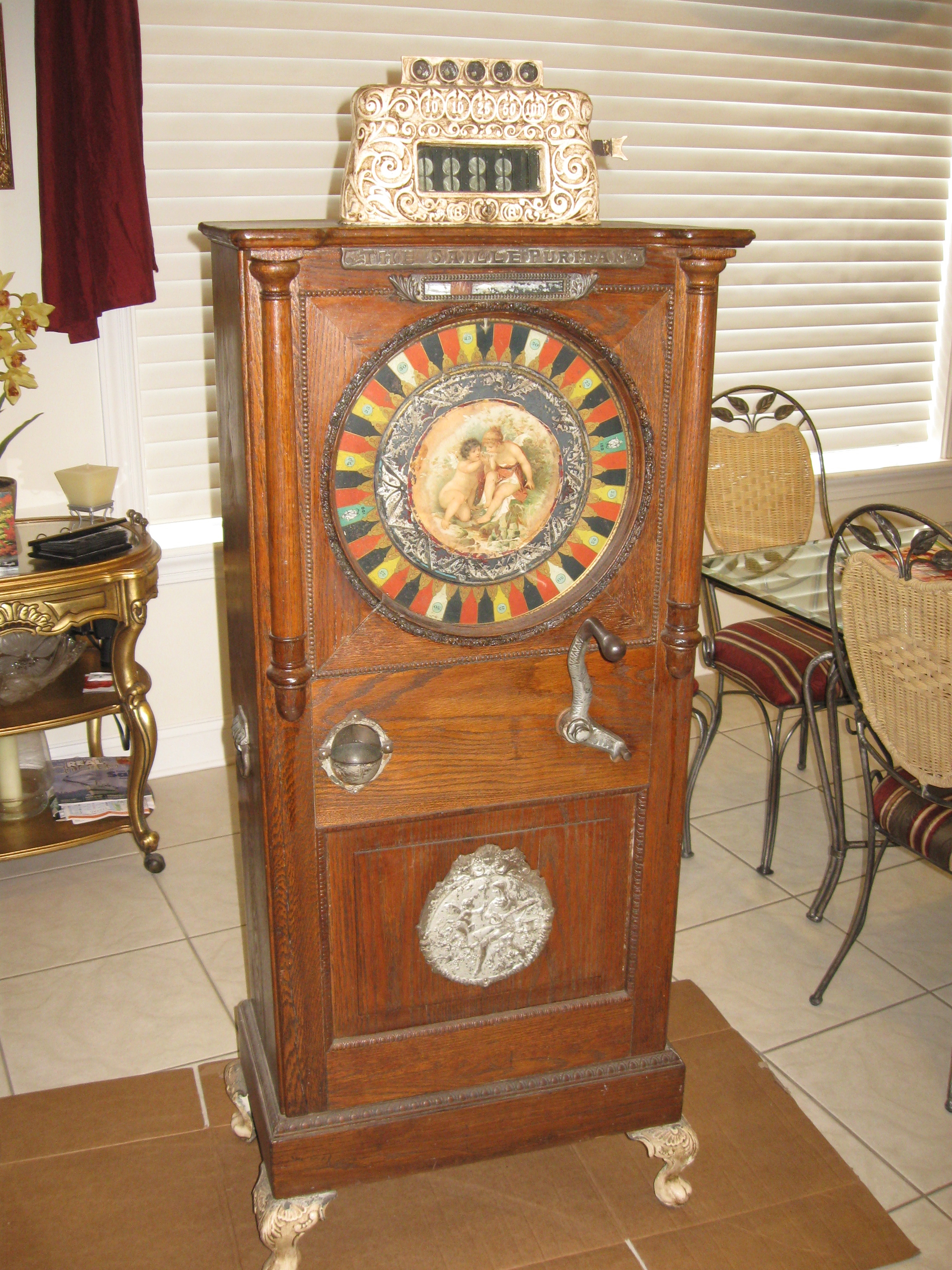 Caille Puritan Upright 5 cent Slot Machine   Gameroom Show