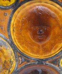 Tiffany Window Amber Ecclesiastical Glass Roundels Cherubs
