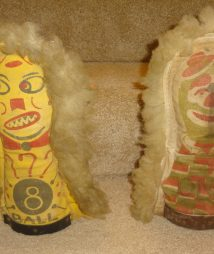 Pair of Antique Circus Carnival Knock Down Punk Dolls doubled sided