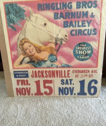 Ringley Bros. Barnum & Bailey Circus Poster 1940's Rare Date Tag