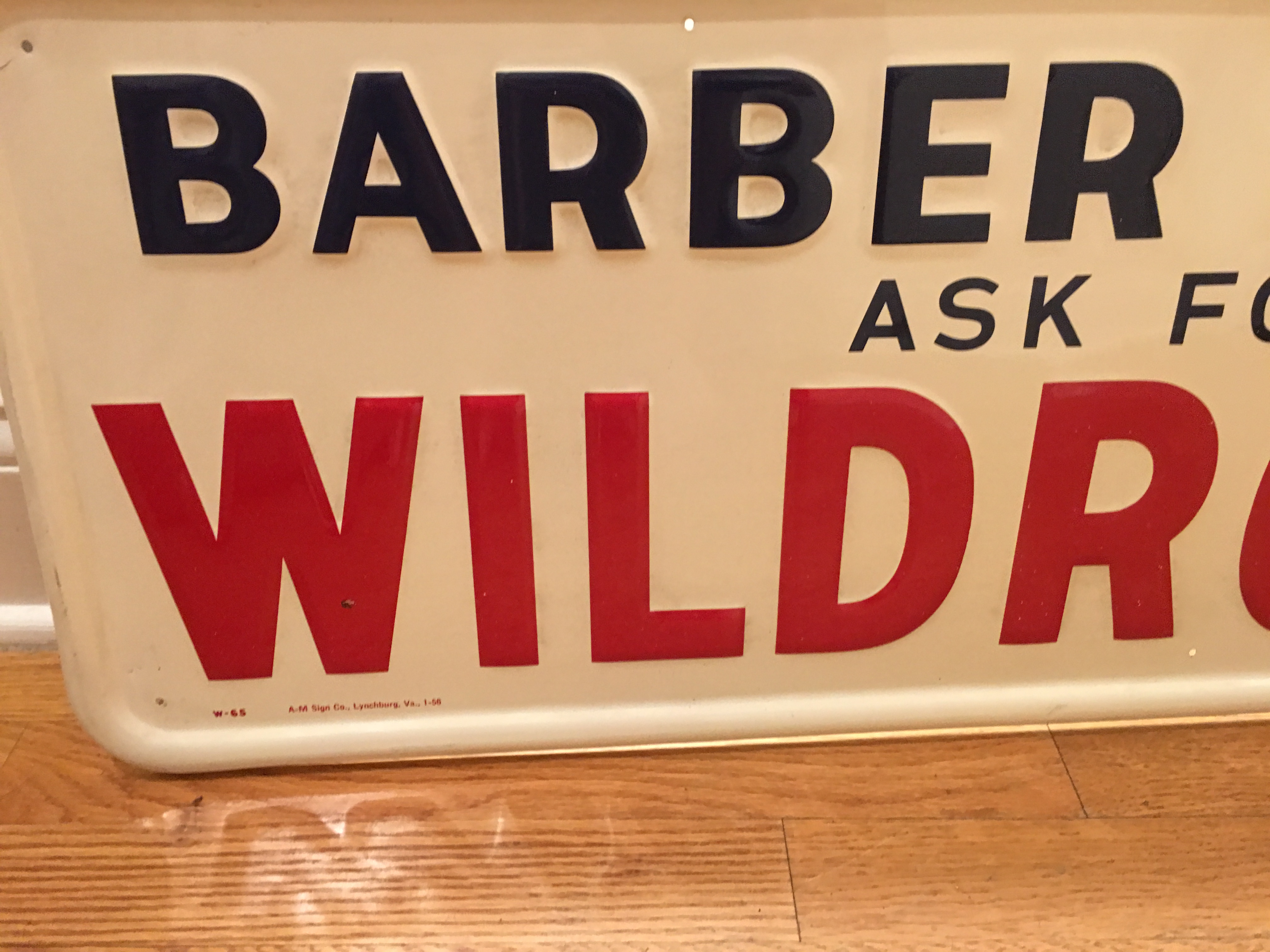 Antique barber shop signs - Antique Barber Shop Ask For Wildroot Advertising Sign Mint Condition