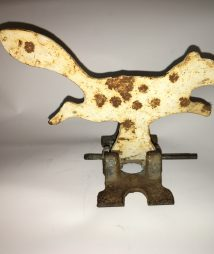 Antique Cast Iron Squirrel Shooting Gallery Target w/Swivel Iron Base