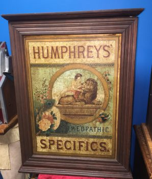 HUMPHREYS' HOMEOPATHIC SPECIFICS DISPLAY MAPLE CABINET