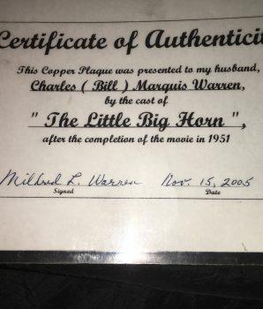Little Big Horn Presentation Plaque, c1951 Autographed Authentic