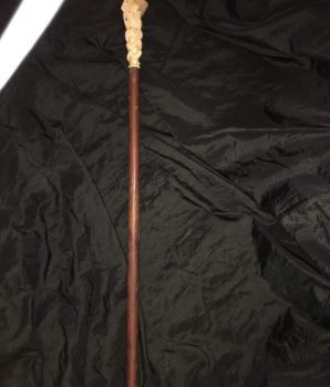 Gambler's Ivory Carved Cane with Bone Handle