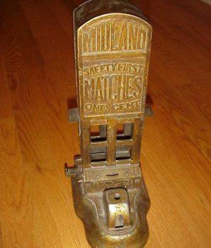 Rare Midland Match Dispenser Cast Iron Coin Op