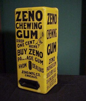 Zeno Yellow Porcelain Gum Vending Machine Case