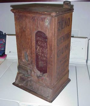 1890's Zen Chewing Gum Machine Oak Vending Case