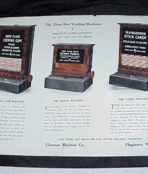 Rare Clawson Vending Machine Flyer c1917