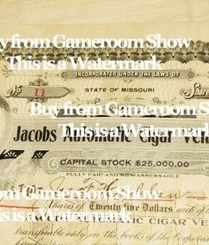 Jacobs Automatic Cigar Vendor Co. Stock Certificate