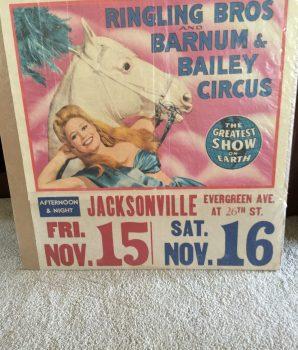 Ringley Bros. Barnum & Bailey Circus Poster 1940's Rare Date Tag