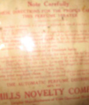 Mills Perfume Vendor Sprayer Circa 1900's